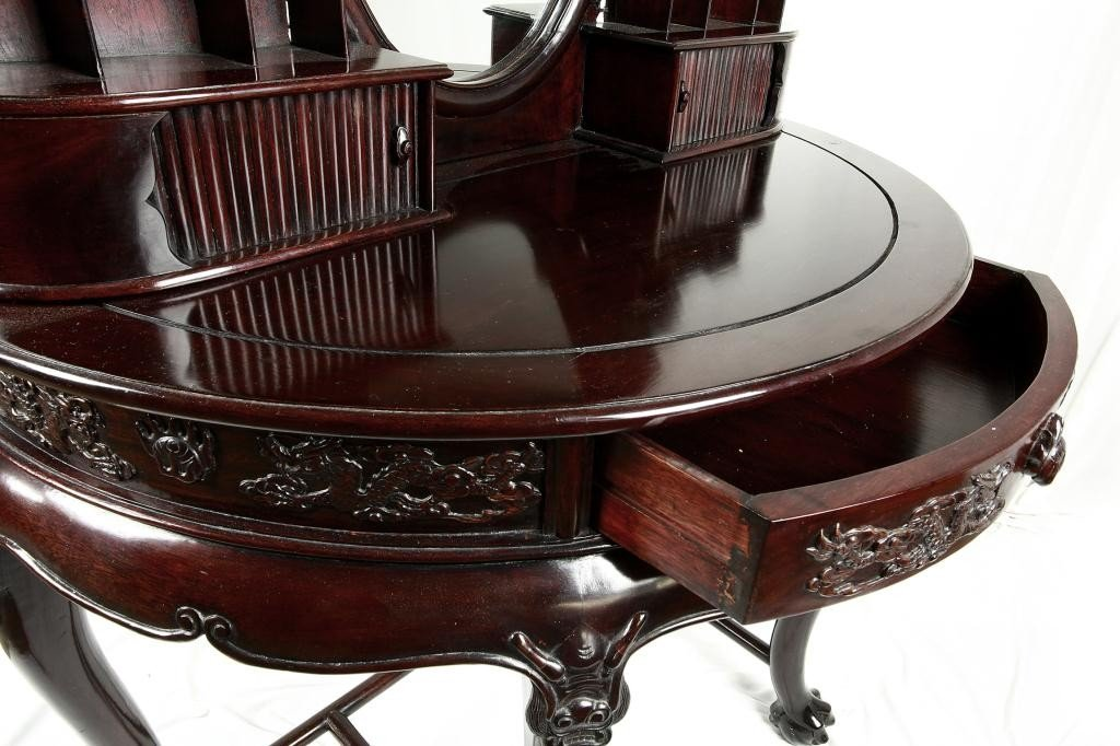190: CHINESE CARVED MAHOGANY VANITY TABLE AND MIRROR - 6