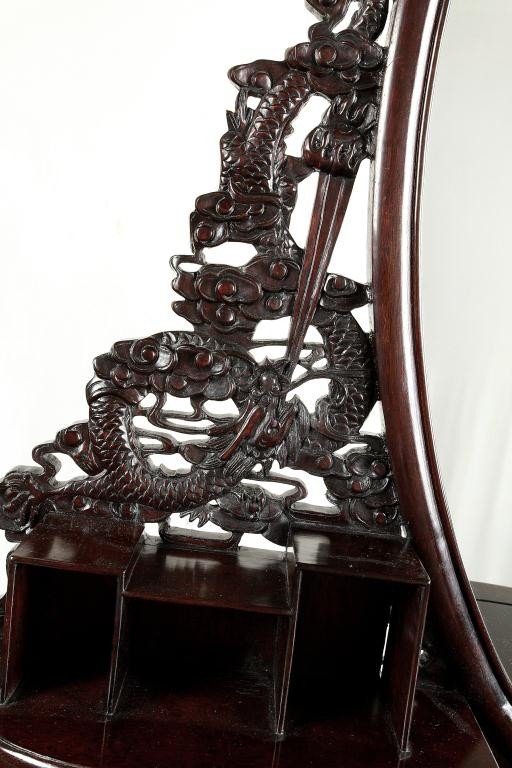 190: CHINESE CARVED MAHOGANY VANITY TABLE AND MIRROR - 7