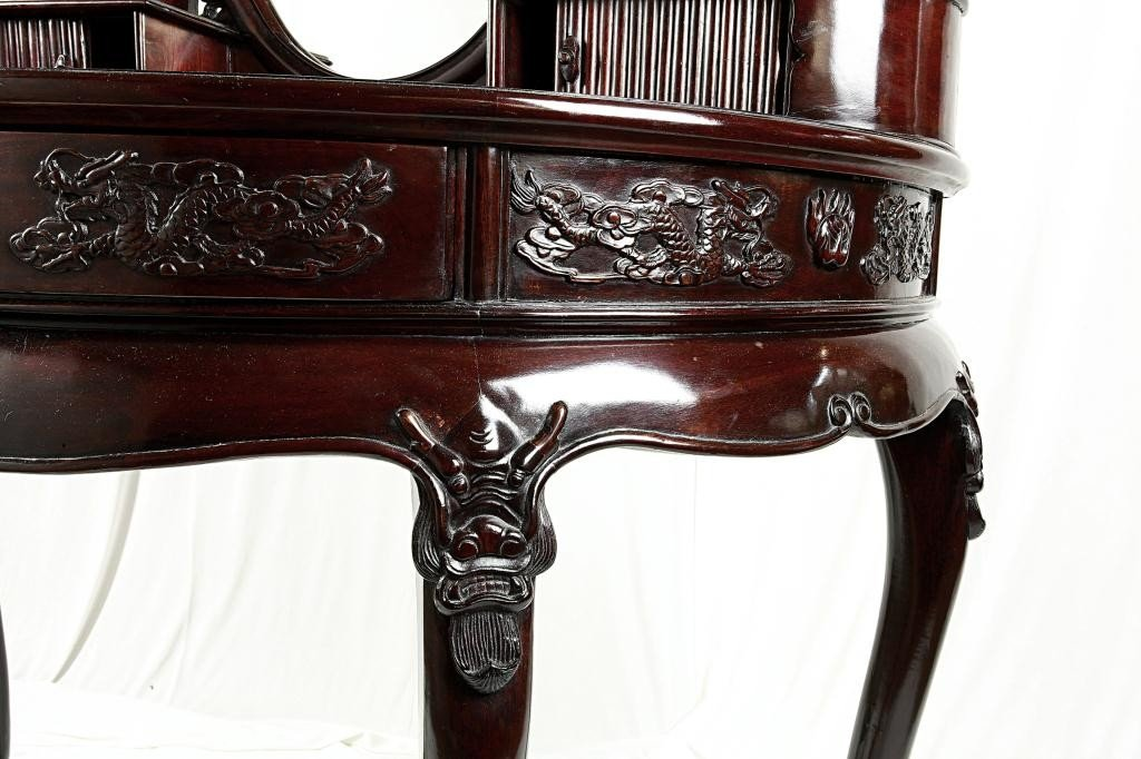 190: CHINESE CARVED MAHOGANY VANITY TABLE AND MIRROR - 8