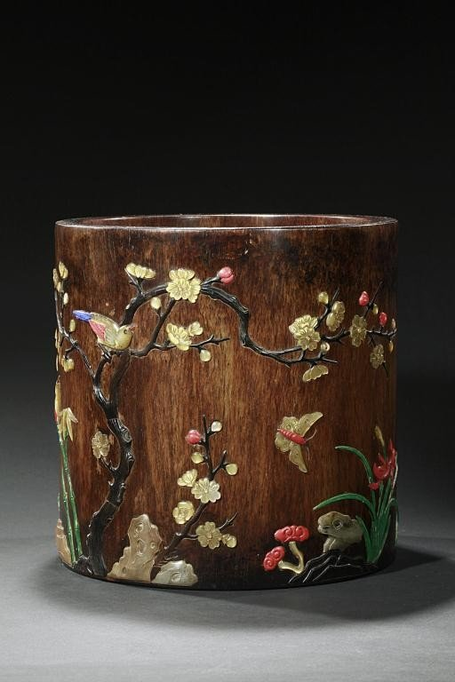 254: CHINESE INLAID BRUSHPOT, POSSIBLY HUANGHUALI