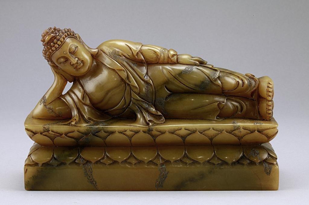 7: ANTIQUE CHINESE SOAPSTONE FIGURE OF RECLINING BUDDHA