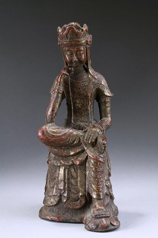 10: CHINESE MING LACQUERED BRONZE  FIGURE OF GUANYIN