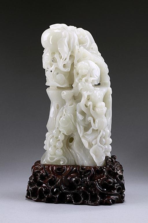 11: CHINESE CARVED WHITE JADE BOULDER OF MONKEYS