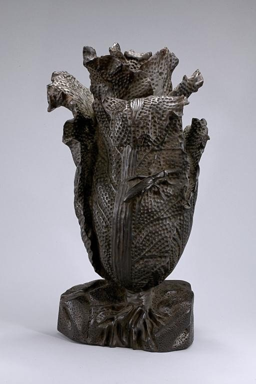 12: OLD CHINESE ZITAN WOOD CARVING OF A LETTUCE