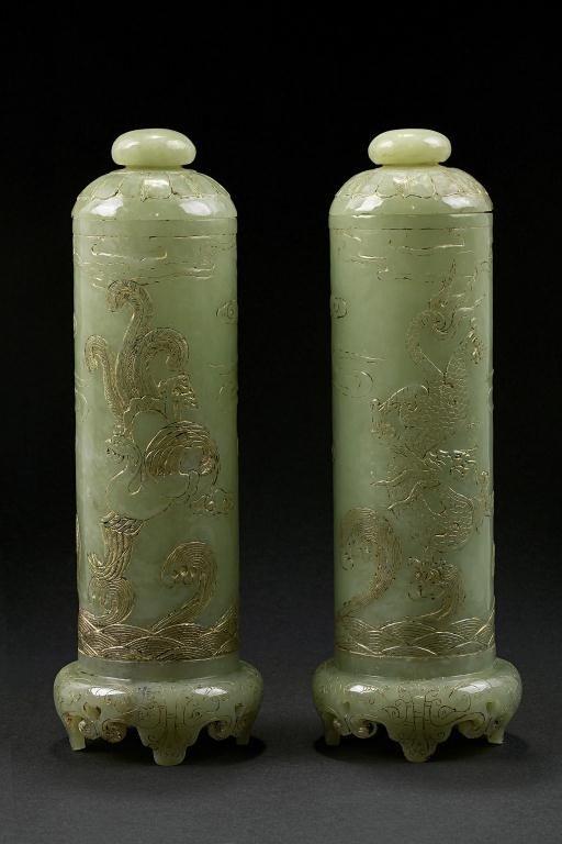 16: PAIR OF CHINESE CELADON JADE INCENSE LIDDED JARS