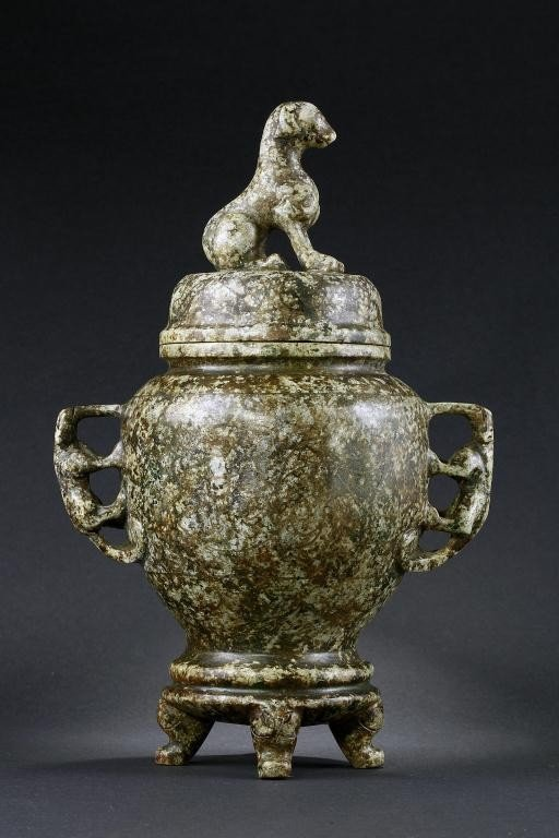 22: ANTIQUE CHINESE CARVED STONE JAR, INLAID WITH GOLD