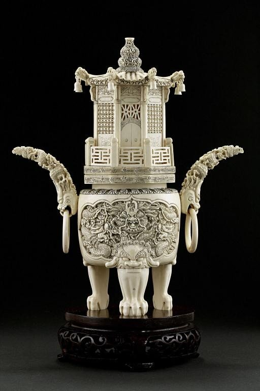 35: CHINESE CARVED IVORY TRIPOD CENSER WITH COVER