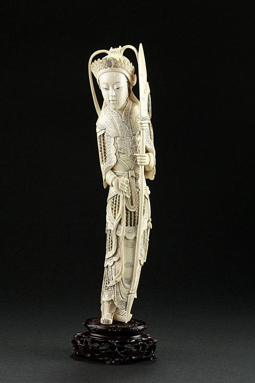 3: CHINESE CARVED IVORY FIGURE OF A GUARDIAN