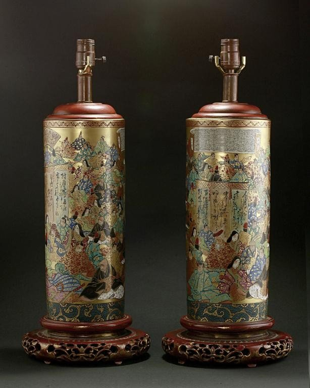 4: PAIR OF JAPANESE SATSUMA VASES, SET AS LAMPS