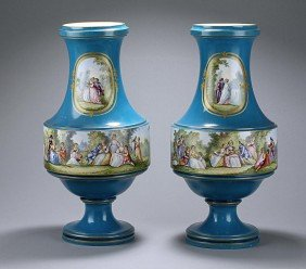 PAIR OF HAND-PAINTED FRENCH SEVRES-STYLE VASES
