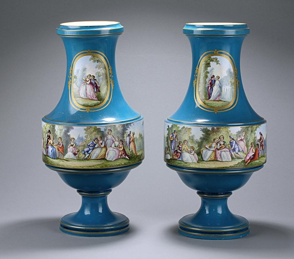 2: PAIR OF HAND-PAINTED FRENCH SEVRES-STYLE VASES