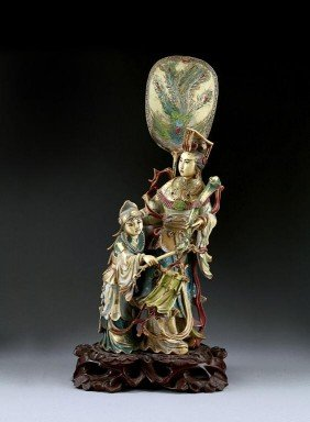 CHINESE POLYCHROMED IVORY FIGURAL GROUP