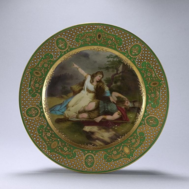 13: 19TH C GILDED VIENNA PORCELAIN PLATE,SIGNED WAGNER
