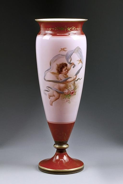 14: ANTIQUE HAND-PAINTED AND GILDED PINK OPALINE VASE