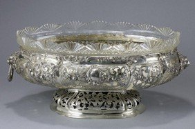 GERMAN SILVER AND GLASS BOWL, WEINRANCK & SCHMIDT