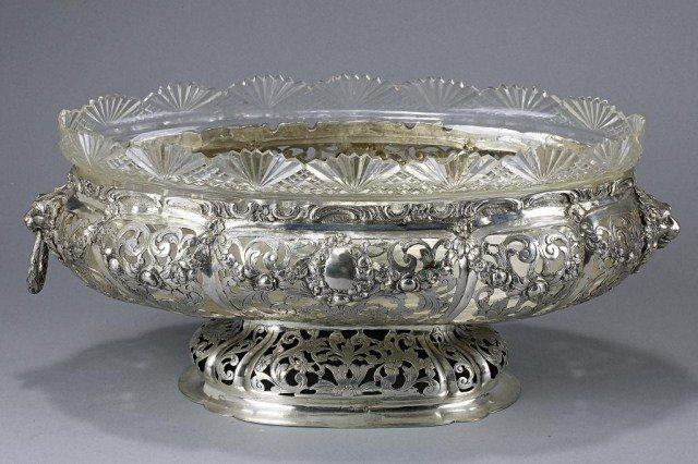 15: GERMAN SILVER AND GLASS BOWL, WEINRANCK & SCHMIDT