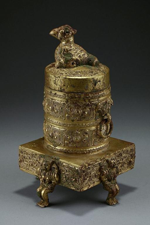 18: ANTIQUE TIBETAN GILT-BRONZE JAR AND COVER