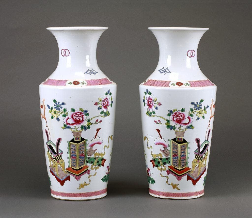 21: PAIR OF FAMILLE ROSE CHINESE VASES