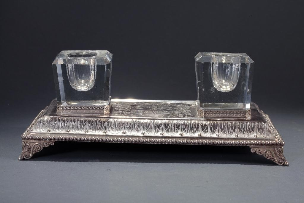 5: ENGLISH SILVER INKSTAND, DATED 1889