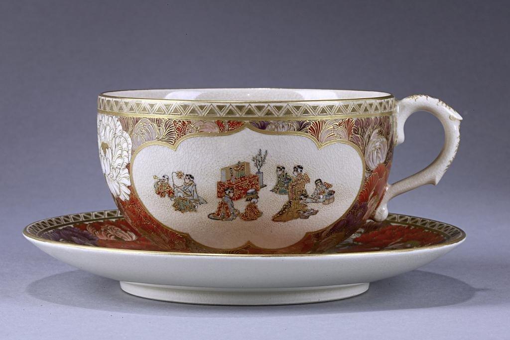 16: YABU MEIZAN SATSUMA CUP AND SAUCER