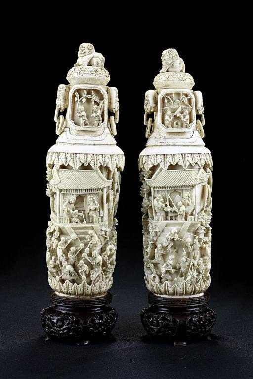 5: PAIR OF CHNESE CARVED IVORY TUSKS