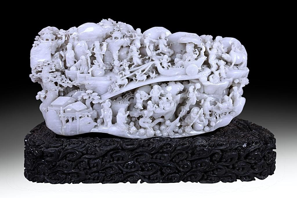 11: MAGNIFICENT CHINESE CARVED WHITE JADE BOULDER