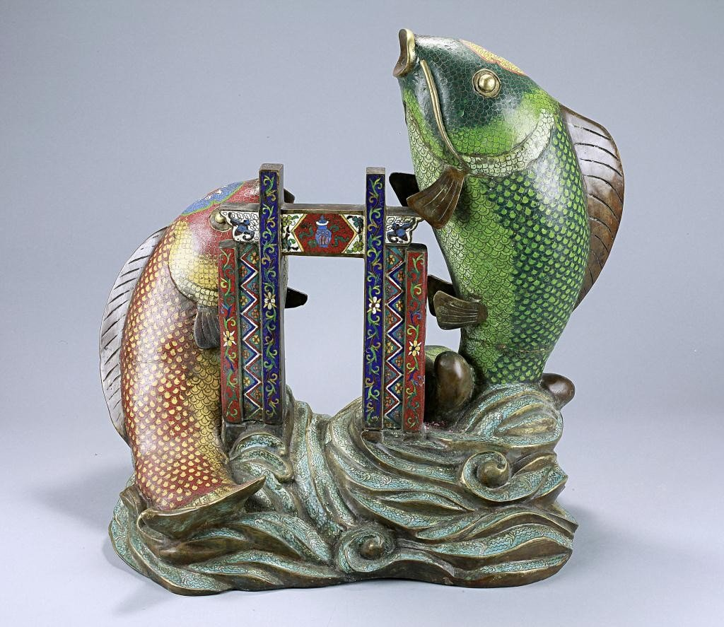 12: CHINESE CLOISONNE FIGURE OF TWO LEAPING FISHES