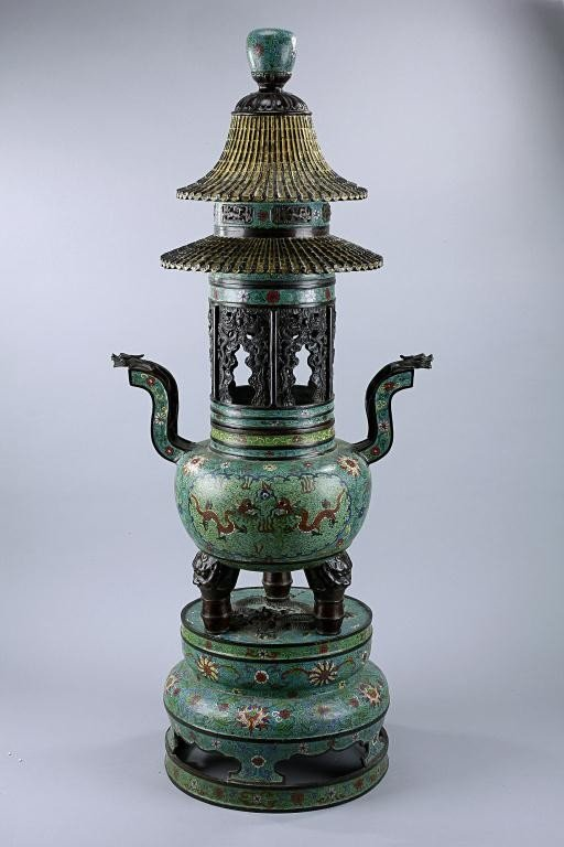 17: 18TH CENTURY CHINESE CLOISONNE INCENSE BURNER