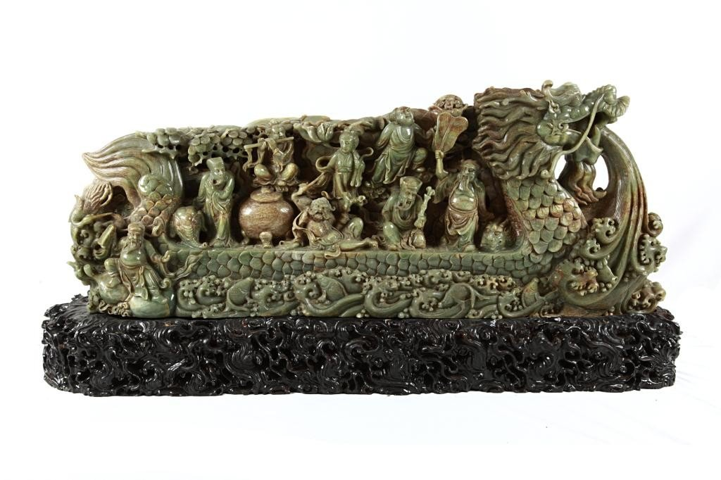 19: LARGE CHINESE CARVED JADE OF 8 IMMORTALS