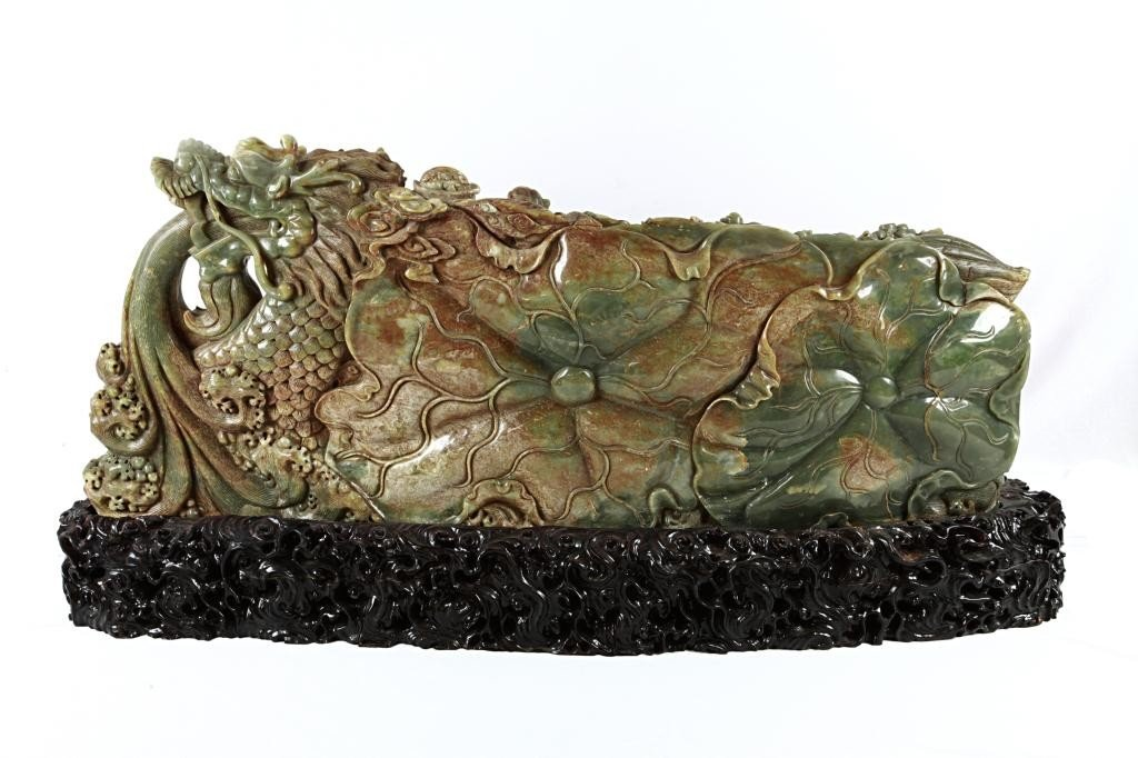 19: LARGE CHINESE CARVED JADE OF 8 IMMORTALS - 2