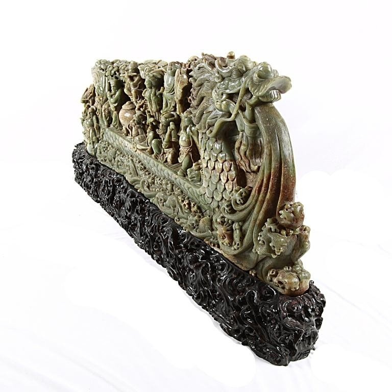 19: LARGE CHINESE CARVED JADE OF 8 IMMORTALS - 3