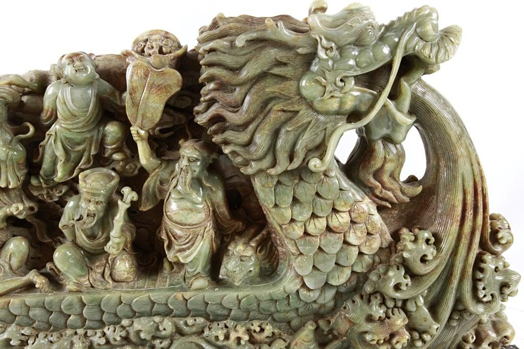 19: LARGE CHINESE CARVED JADE OF 8 IMMORTALS - 5