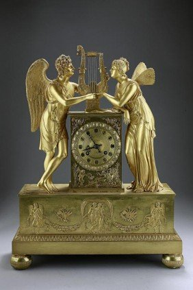 EARLY 19TH CENTURY REGENCY BRONZE MANTEL CLOCK
