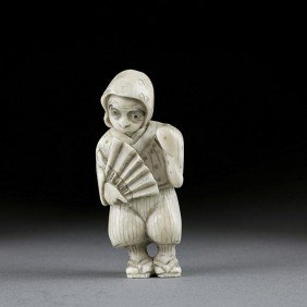 JAPANESE CARVED IVORY NETSUKE FIGURE OF A MONKEY