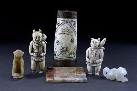 ASSORTED ASIAN FIGURES AND PLAQUE