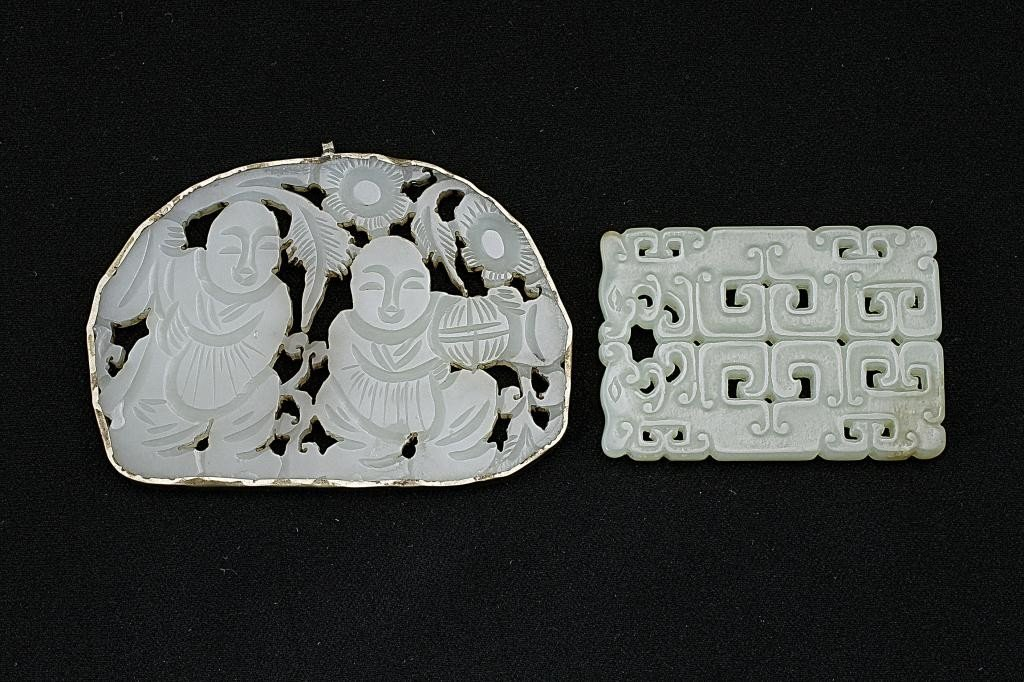 128: TWO CHINESE CARVED JADE PLAQUE PENDANTS