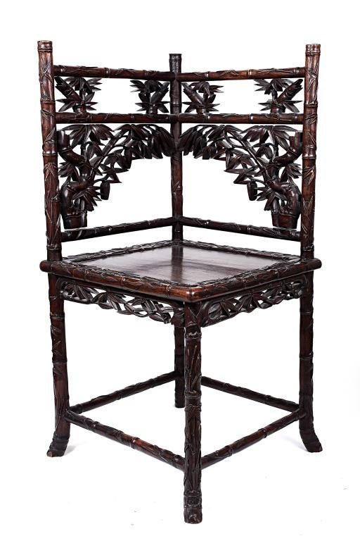 140: ANTIQUE CHINESE CARVED BAMBOO CHAIR