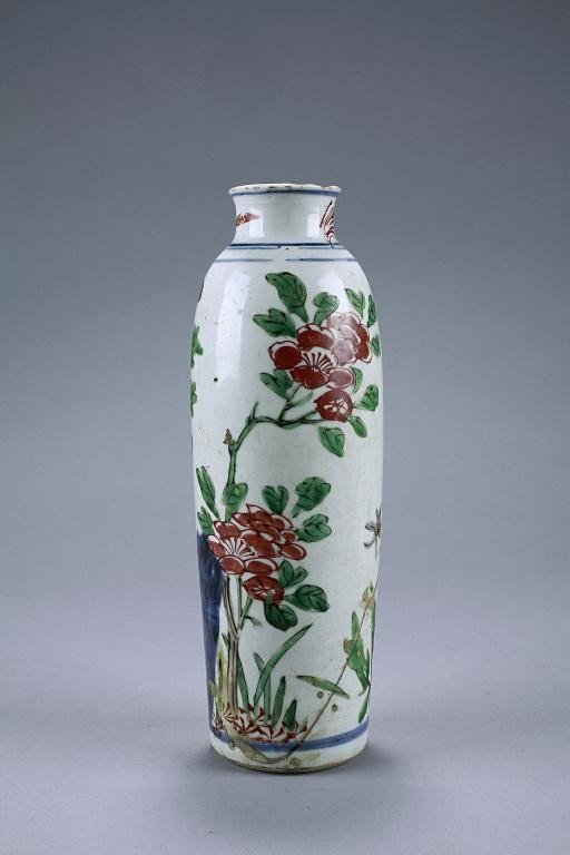 141: ANTIQUE CHINESE CYLINDRICAL VASE