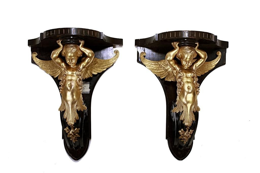 PAIR OF 19TH CENTURY FRENCH GILT-BRONZE WALL MOUNTS