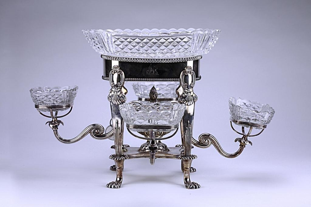 6: OLD SHEFFIELD PLATED EPERGNE WITH CUT GLASS BOWLS