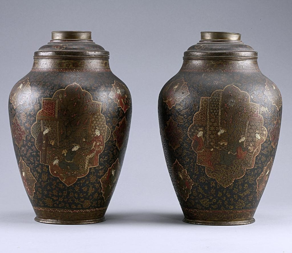7: PAIR OF ANTIQUE PERSIAN OIL LAMPS, QAJAR DYNASTY