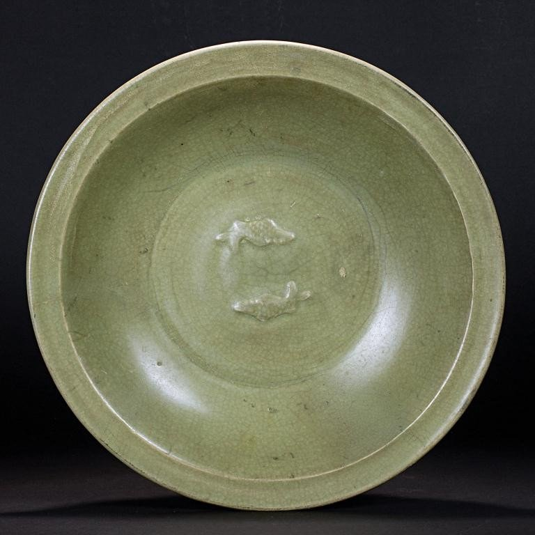 104: ANTIQUE CHINESE CELADON BOWL OF MARRIAGE
