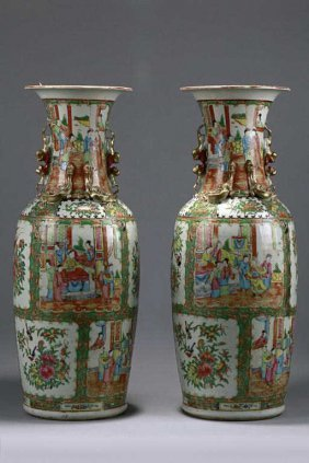 8: PAIR OF ANTIQUE CHINESE CANTON VASES
