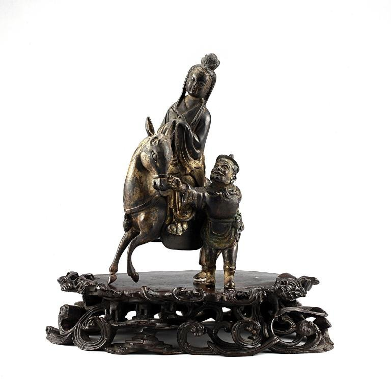 19: ANTIQUE CHINESE BRONZE FIGURAL GROUP