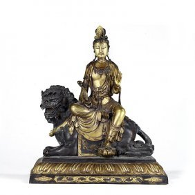 21: ANTIQUE TIBETAN GILT-BRONZE FIGURE OF MANJUSHRI