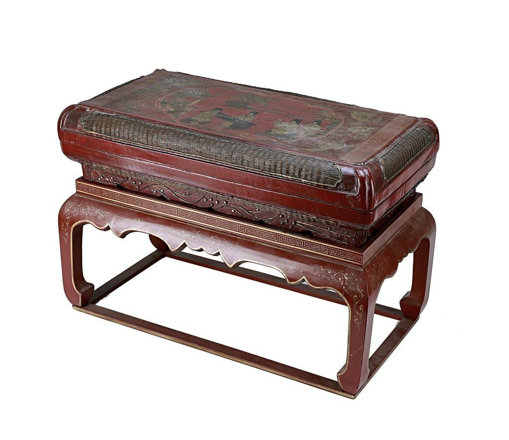 9: ANTIQUE CHINESE CARVED LACQUER BOX ON STAND