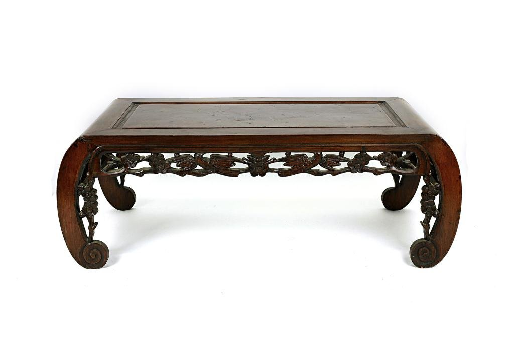 3: ANTIQUE CHINESE SHORT CARVED WOOD ALTAR TABLE
