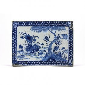 10: ANTIQUE CHINESE BLUE AND WHITE PORCELAIN PLAQUE