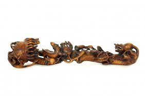 CHINESE ELABORATELY CARVED ROOT SCEPTER