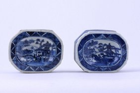 12: PAIR OF ANTIQUE CHINESE BLUE AND WHITE SALT DISHES